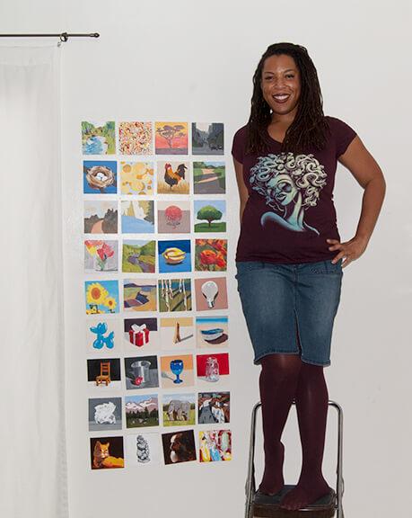 Posing with mini-paintings